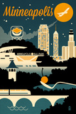 Minneapolis, Minnesota - Retro Skyline Posters by  Lantern Press