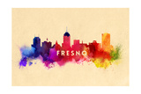 Fresno, California - Skyline Abstract Art by  Lantern Press
