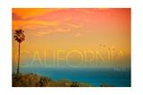 Malibu, California - Sunset and Birds Prints by  Lantern Press