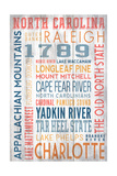 North Carolina - Barnwood Typography Print by  Lantern Press