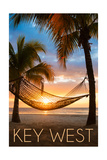 Key West, Florida - Hammock and Sunset Poster by  Lantern Press