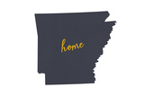 Arkansas - Home State- Gray on White Prints by  Lantern Press