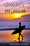 Venice Beach, California - the Waves are Calling - Surfer and Sunset Prints by  Lantern Press