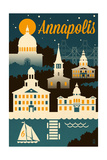 Annapolis, Maryland - Retro Skyline Prints by  Lantern Press