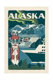 Alaska - Woodblock Art by  Lantern Press