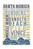 Santa Monica, California - Typography Prints by  Lantern Press