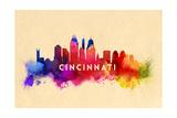 Cincinnati, Ohio - Skyline Abstract Prints by  Lantern Press