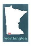 Worthington, Minnesota - Chalkboard and Heart Prints by  Lantern Press