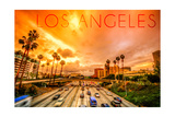 Los Angeles, California - Highway and Palms Poster by  Lantern Press