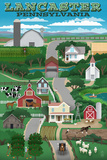 Lancaster, Pennsylvania - Retro Countryside Posters by  Lantern Press