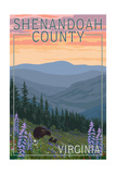 Shenandoah County, Virginia - Bears and Spring Flowers Posters by  Lantern Press