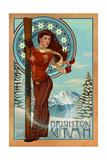 Brighton, Utah - Art Nouveau Skier Poster av  Lantern Press