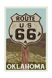 Oklahoma - Route 66 - Letterpress Posters by  Lantern Press