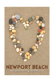 Newport Beach, California Is Where My Heart Is - Stone Heart on Sand Posters by  Lantern Press