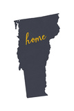Vermont - Home State - Gray on White Print by  Lantern Press