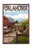 Oklahoma - Barnyard Scene Art by  Lantern Press