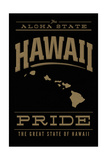 Hawaii State Pride - Gold on Black Prints by  Lantern Press