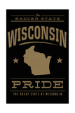 Wisconsin State Pride - Gold on Black Prints by  Lantern Press