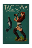 Tacoma, Washington - Pinup Girl Fishing Prints by  Lantern Press