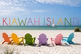 Kiawah Island, South Carolina - Colorful Chairs Poster von  Lantern Press