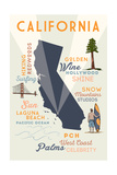Laguna Beach, California - Typography and Icons Print by  Lantern Press