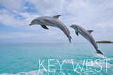 Key West, Florida - Jumping Dolphins Prints by  Lantern Press