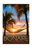 Bonaire, Dutch Caribbean - Hammock and Sunset Poster by  Lantern Press