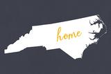 North Carolina - Home State - White on Gray Prints by  Lantern Press