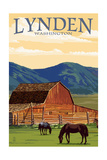 Lynden, Washington - Red Barn and Horses Prints by  Lantern Press