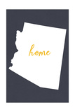 Arizona - Home State- Gray on White Prints by  Lantern Press