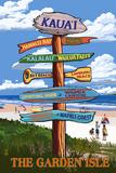 Kauai, Hawaii - the Garden Isle Destination Signpost Prints by  Lantern Press