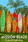 Mission Beach, California - Surfboard Fence Art by  Lantern Press