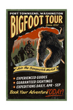 Port Townsend, Washington - Bigfoot Tours - Vintage Sign Prints by  Lantern Press