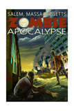 Salem, Massachusetts - Zombie Apocalypse Art by  Lantern Press