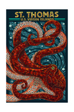 St. Thomas, U.S. Virgin Islands - Octopus Mosaic Prints by  Lantern Press