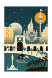 Orlando, Florida - Retro Skyline (no text) Prints by  Lantern Press