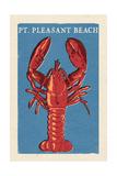Pt. Pleasant Beach, New Jersey - Lobster Woodblock Prints by  Lantern Press
