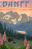 Banff, Alberta, Canada - Bears and Spring Flowers (with border) Art by  Lantern Press