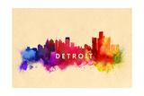 Detroit, Michigan - Skyline Abstract Prints by  Lantern Press