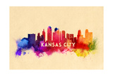 Kansas City, Missouri - Skyline Abstract Poster by  Lantern Press