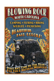Blowing Rock, North Carolina - Black Bear Family Fall Colors Posters by  Lantern Press