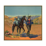 Cowboy with Horse - Citrus Crate Label Prints by  Lantern Press