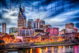 Nashville, Tennessee - Colorful Skyline Print by  Lantern Press