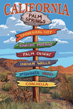 Palm Springs, California - Destination Signpost Poster by  Lantern Press