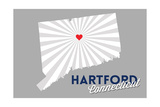 Hartford, Connecticut - Home State - White on Gray with Heart and Rays Prints by  Lantern Press