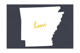 Arkansas - Home State- White on Gray Print by  Lantern Press