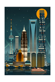 Shanghai, China - Retro Skyline (no text) Poster by  Lantern Press