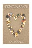 Hermosa Beach, California - Stone Heart on Sand Prints by  Lantern Press