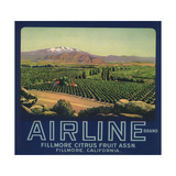 Airline Brand - Fillmore, California - Citrus Crate Label Premium Giclee Print by  Lantern Press