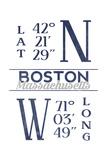 Boston, Massachusetts - Latitude and Longitude (Blue) Art by  Lantern Press